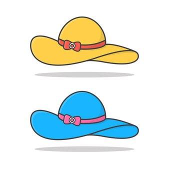 여성 일러스트 레이 션에 대 한 비치 모자입니다. 여성 여름 모자. 여름 휴가의 개념