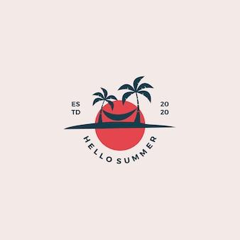 Beach hello summer logo design illustration