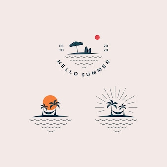Beach hello summer logo design