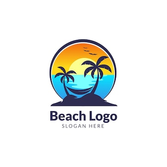 Beach hello summer logo template