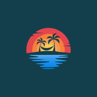 Beach hello summer logo