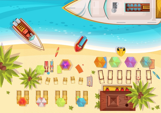 Beach holiday composition top view including sunbathers on loungers bar boats and surfboards palm trees vector illustration