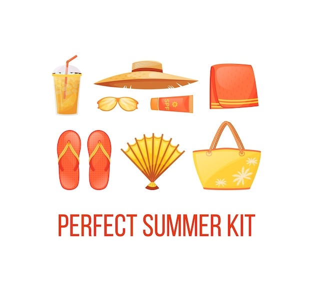 Beach holiday essentials social media post mockup. perfect summer kit phrase. web banner design template. booster, content layout with inscription. poster, print ads and flat illustration