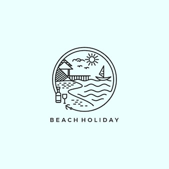 Beach holiday monoline logo