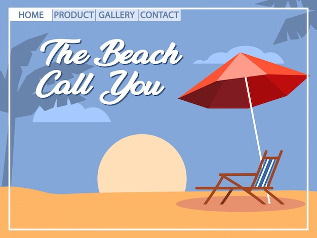 Beach holiday pop art style for homepage design