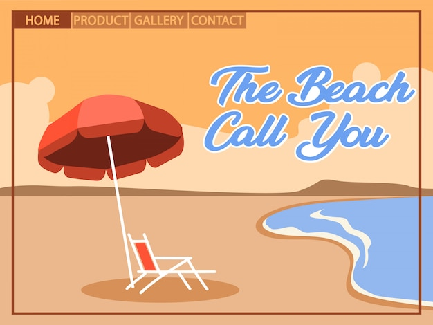 Beach holiday with cubism  art style for homepage design
