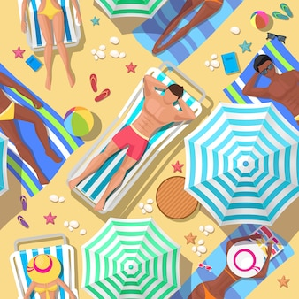 Beach holidays seamless pattern. relaxation and summer, tourism and rest, relax outdoor, comfortable leisure