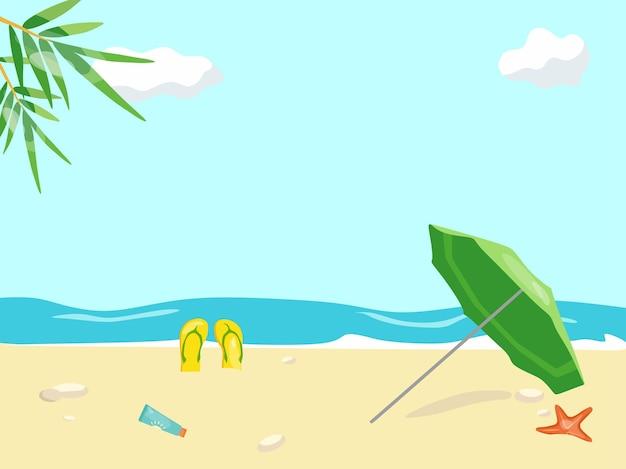 해변 휴가 해변 우산 셰일과 불가사리의 벡터 일러스트 레이 션