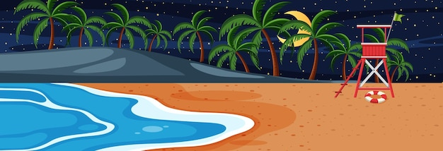 Горизонтальная сцена на пляже в ночное время с множеством пальм