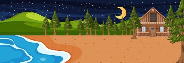 목조 주택과 밤에 해변 수평 장면
