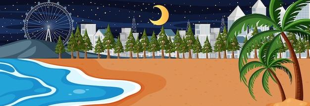 Горизонтальная сцена пляжа ночью с фоном городского пейзажа