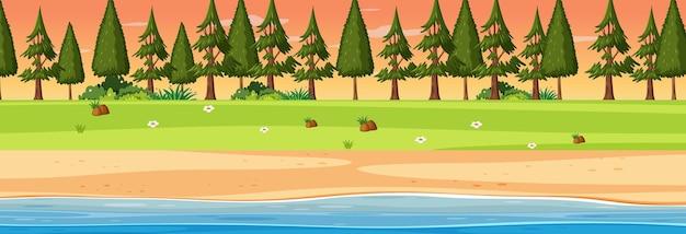 松の木がたくさんある日没時のビーチの水平方向のシーン