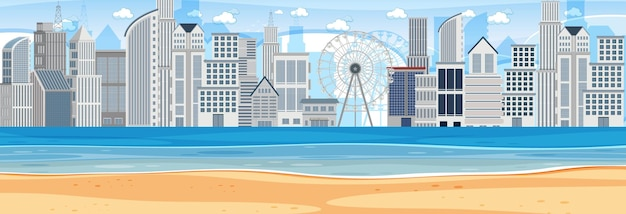 Beach horizontal scene at day time with city background
