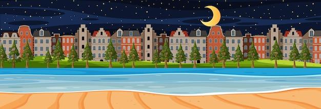 Beach horizontal scene at night with city background