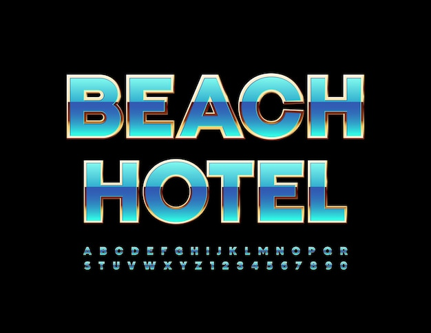 Beach hotel with blue and gold alphabet letters and numbers set chic style font