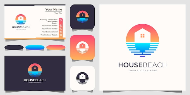 Шаблон дизайна логотипа домик на пляже и визитная карточка.