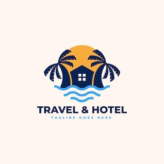 ビーチハウスのロゴデザインテンプレート-ビーチリゾート、ヴィラ、ビーチホテルのロゴ