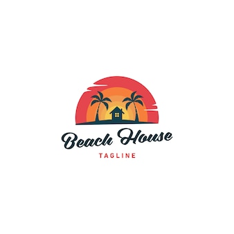 Beach house logo design vector illustration