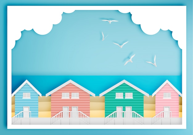 Beach house with ocean background frame paper art style