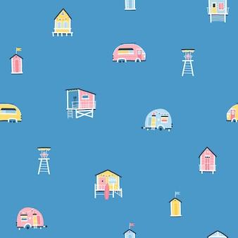 비치 하우스와 트레일러 완벽 한 패턴입니다. 단순한 손으로 그린 유치한 스칸디나비아 스타일의 귀여운 여름 만화 삽화. 다채로운 파스텔 팔레트의 작은 열대 건물. 인쇄에 이상적