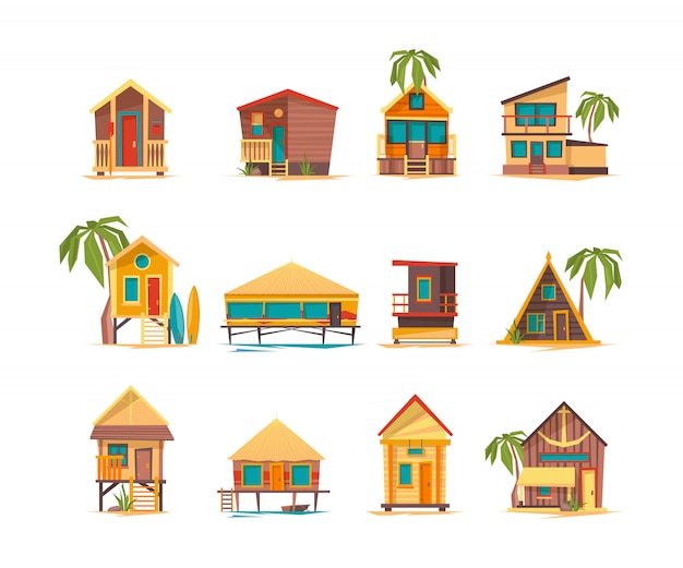 Beach houses. funny buildings for summer vacation tropical bungalow cabins and constructions