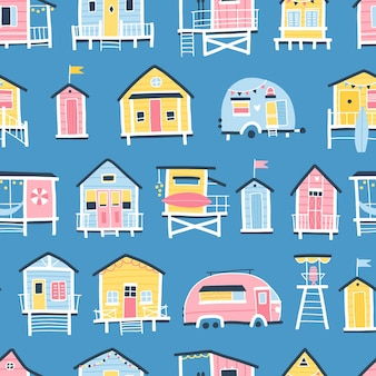 Beach houses and trailers seamless pattern. cute summer cartoon illustrations in simple hand drawn childish scandinavian style. tiny tropical buildings in a colorful pastel palette. ideal for printing