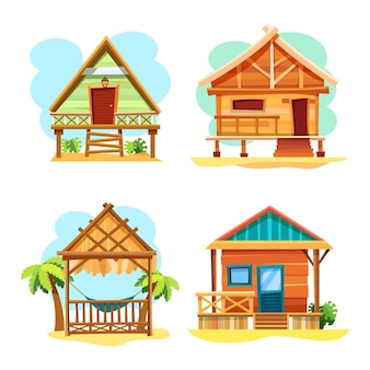 Beach hut or island resort house. tropical bungalow stilt houses or summer cabins of wood with palms and hammock, summer vacations sea resort cottages cartoon illustration.