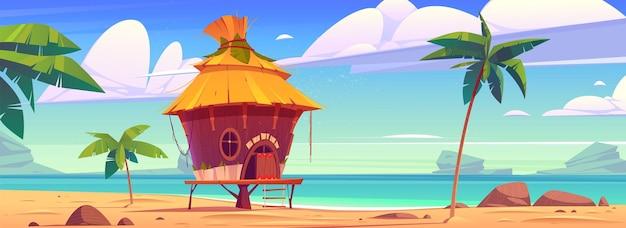 Capanna sulla spiaggia sulla località tropicale dell'isola