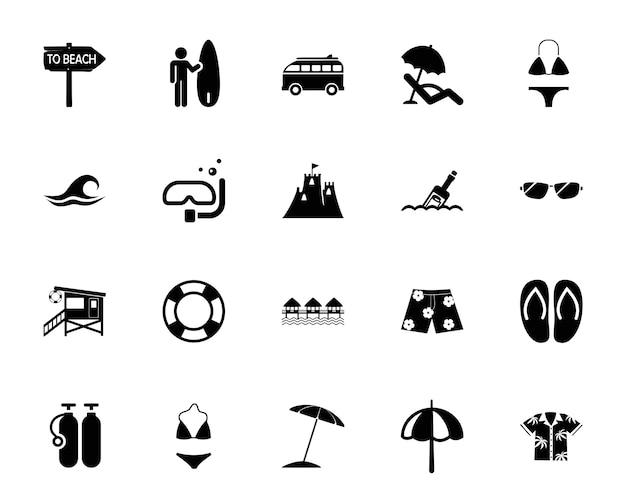 Набор иконок для пляжа