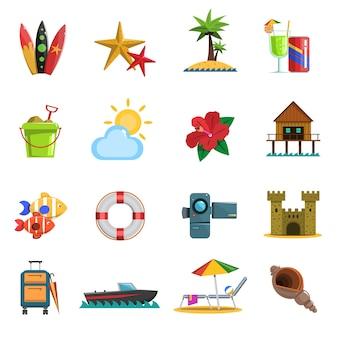 Beach icons flat