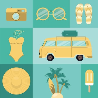 Beach icons set.