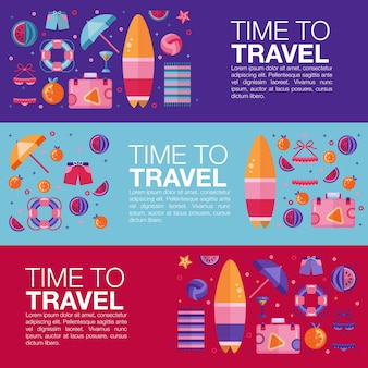 Beach icons time to travel summer vector template.