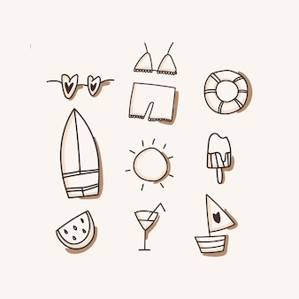 Beach icons, vacation, travel isolated