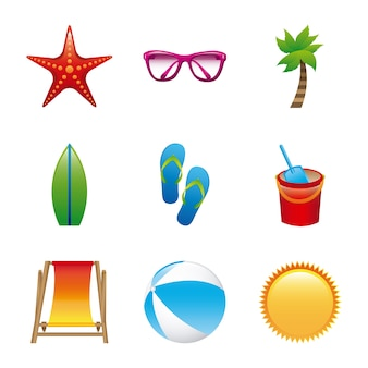 Beach icons over white background vector illustration