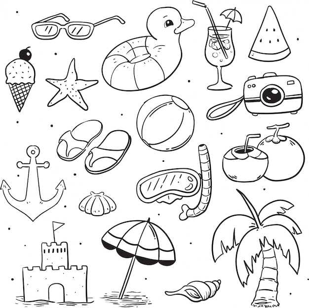Beach illustration characters