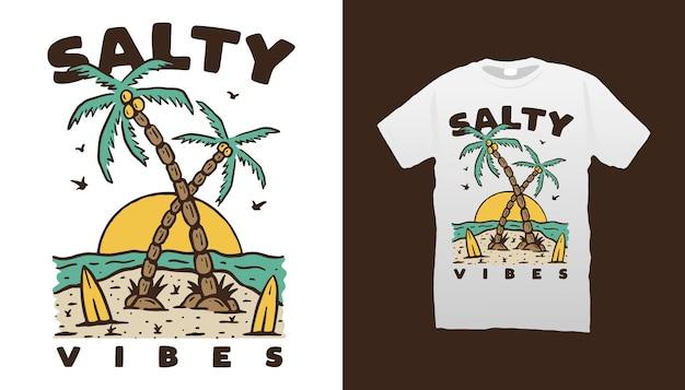 ビーチイラストtシャツデザイン