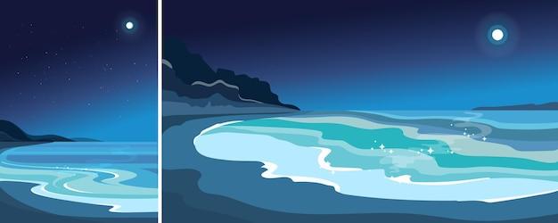 月明かりの下でビーチ。縦横の美しい海景。