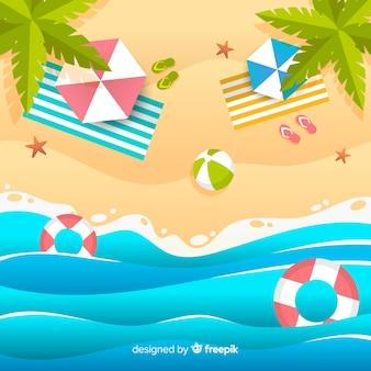 Пляж в бумажном стиле
