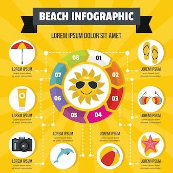 Beach infographic concept, flat style
