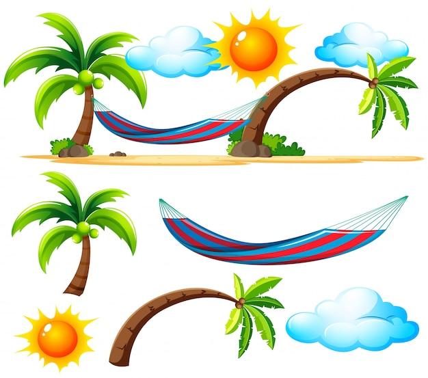 Пляжные вещи и сцена на пляже