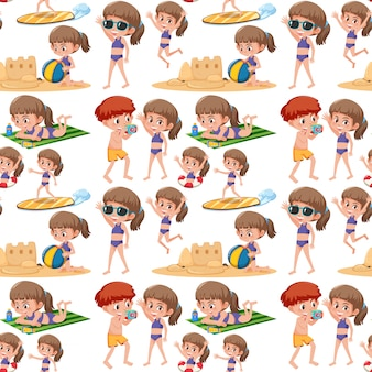 Beach kids seamless pattern