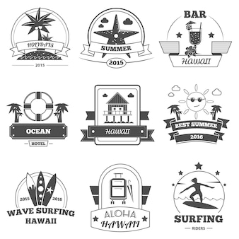Beach label set