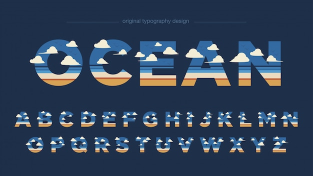 Beach landscape abstract typography