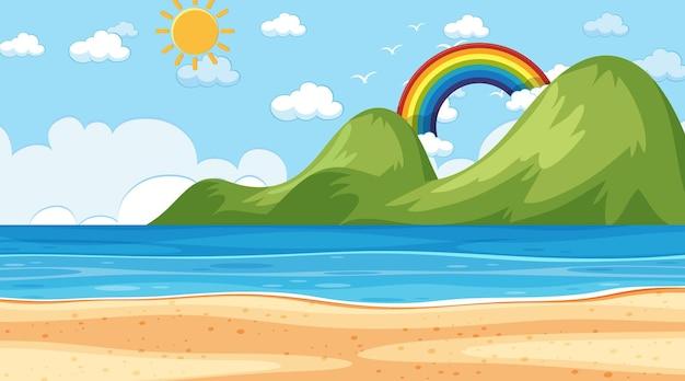 Пляжный пейзаж в дневное время с горным фоном