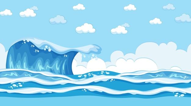 Пляжный пейзаж в дневное время с океанской волной