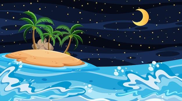 Пляжный пейзаж на ночной сцене с островом