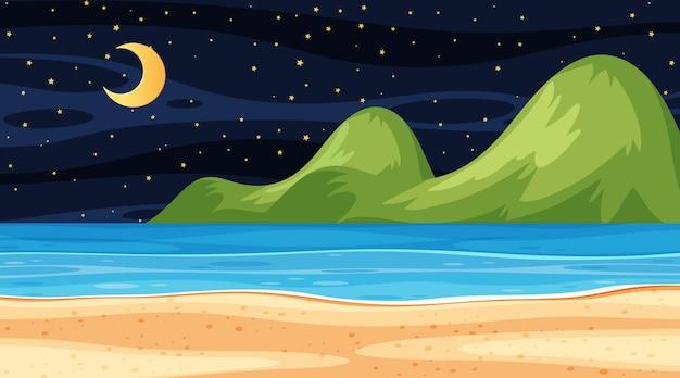 Пляжный пейзаж ночью