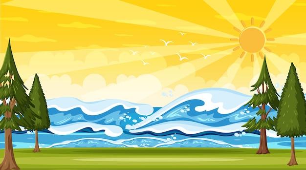 海の波と日没のシーンでビーチの風景 Premiumベクター