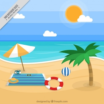 Beach landscape background with accessories