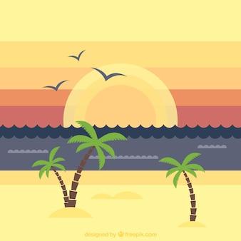Пляж пейзаж фон с пальмами на закате